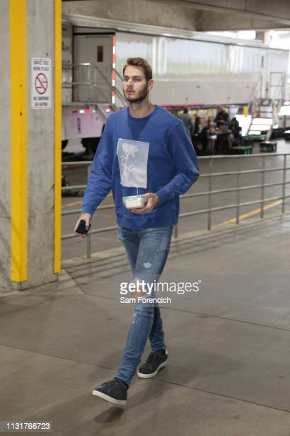 Jake Layman of the Portland Trail Blazers arrives at the arena before the game against the Dallas Mavericks on March 20 2019 at the Moda Center Arena...