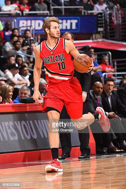 Jake Layman of the Portland Trail Blazers handles the ball against the LA Clippers on November 09 2016 at STAPLES Center in Los Angeles California...