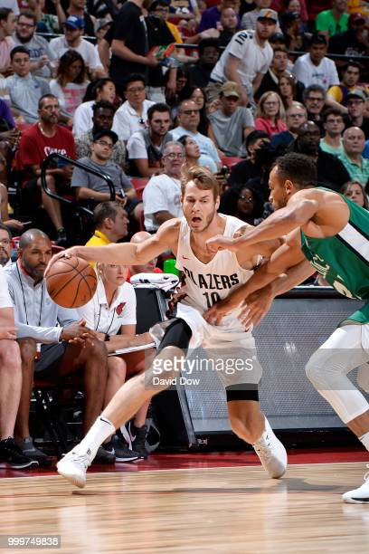 Jake Layman of the Portland Trail Blazers handles the ball against the Boston Celtics during the 2018 Las Vegas Summer League on July 15 2018 at the...