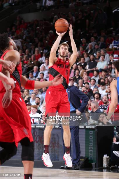 Jake Layman of the Portland Trail Blazers shoots the ball against the Dallas Mavericks on March 20 2019 at the Moda Center Arena in Portland Oregon...