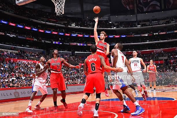 Jake Layman of the Portland Trail Blazers shoots the ball against the LA Clippers on November 09 2016 at STAPLES Center in Los Angeles California...