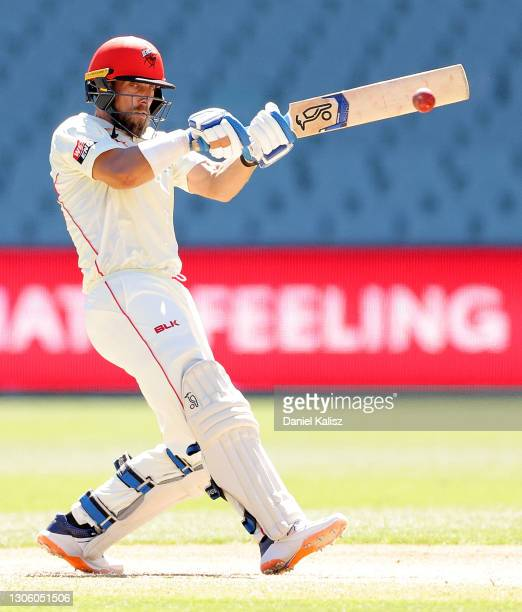 Jake Leahmann of South Australia bats during day four of the Sheffield Shield match between South Australia and New South Wales at Adelaide Oval on...
