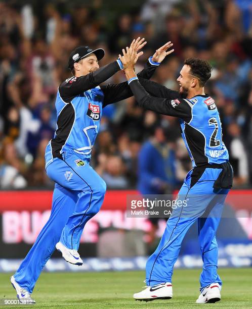 Jake Lehmann and Jake Weatherald of the Adelaide Strikers celebrates after taking the last wicket during the Big Bash League match between the...