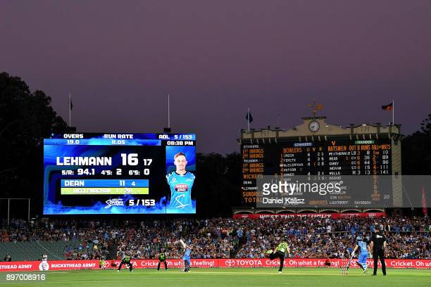 Jake Lehmann of the Adelaide Strikers bats during the Big Bash League match between the Adelaide Strikers and the Sydney Thunder at Adelaide Oval on...