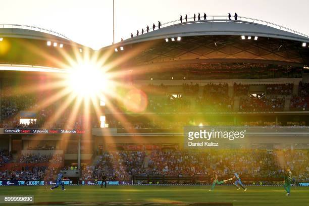 Jake Lehmann of the Adelaide Strikers bats during the Big Bash League match between the Adelaide Strikers and the Brisbane Heat at Adelaide Oval on...