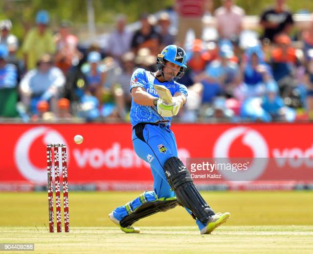 Jake Lehmann of the Adelaide Strikers bats during the Big Bash League match between the Adelaide Strikers and the Perth Scorchers at Traeger Park on...