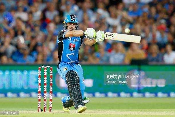 Jake Lehmann of the Adelaide Strikers bats during the Big Bash League match between the Adelaide Strikers and the Melbourne Renegades at Adelaide...