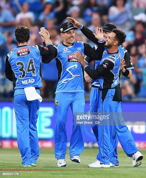 Jake Lehmann of the Adelaide Strikers celebrates after taking the wicket of Jimmy Pierson of the Brisbane Heat during the Big Bash League match...