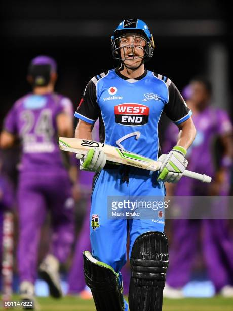 Jake Lehmann of the Adelaide Strikers during the Big Bash League match between the Hobart Hurricanes and the Adelaide Strikers at Blundstone Arena on...