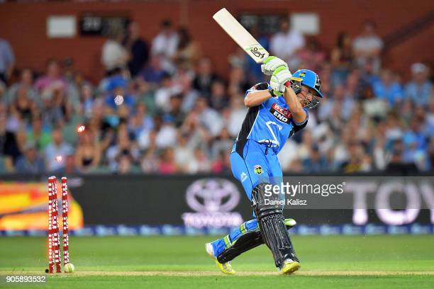Jake Lehmann of the Adelaide Strikers is bowled out by Jofra Archer of the Hobart Hurricanes during the Big Bash League match between the Adelaide...
