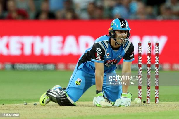 Jake Lehmann of the Adelaide Strikers loses his wicket during the Big Bash League match between the Adelaide Strikers and the Hobart Hurricanes at...