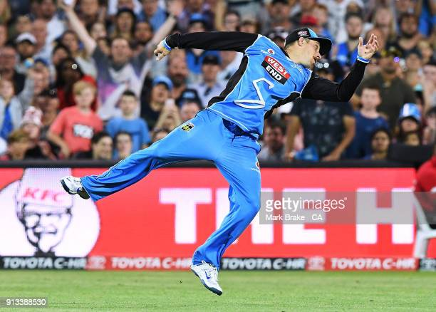 Jake Lehmann of the Adelaide Strikers miss reads a catch during the Big Bash League match between the Adelaide Strikers and the Melbourne Renegades...