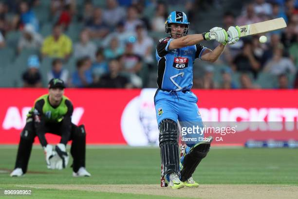 Jake Lehmann of the Adelaide Strikers plays a shot during the Big Bash League match between the Adelaide Strikers and the Sydney Thunder at Adelaide...