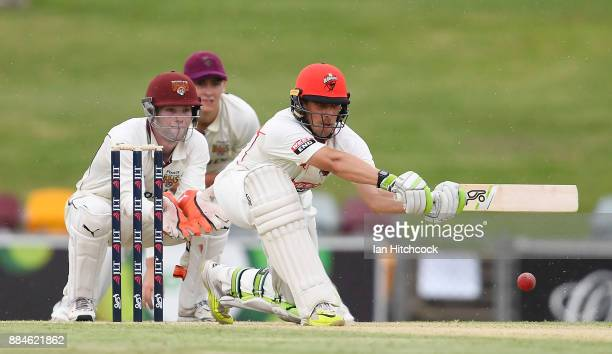 Jake Lehmann of the Redbacks bats during day one of the Sheffield Shield match between Queensland and South Australia at Cazaly's Stadium on December...