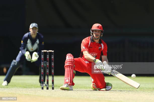 Jake Lehmann of the Redbacks bats during the JLT One Day Cup match between Victoria and South Australia at North Sydney Oval on October 12 2017 in...