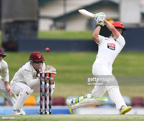 Jake Lehmann of the Redbacks edges the ball through slips during day one of the Sheffield Shield match between Queensland and South Australia at...