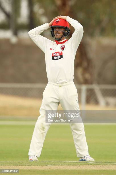 Jake Lehmann of the Redbacks reacts during the Sheffield Shield final between Victoria and South Australia on March 27 2017 in Alice Springs Australia