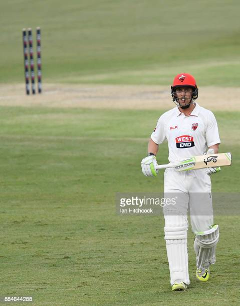 Jake Lehmann of the Redbacks walks from the field after being dismissed during day one of the Sheffield Shield match between Queensland and South...
