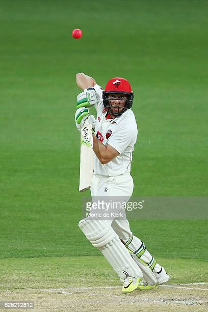 Jake Lehmann of the SA Redbacks bats during day three of the Sheffield Shield match between South Australia and New South Wales at Adelaide Oval on...