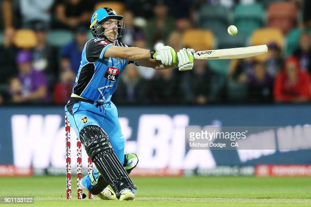 Jake Lehmann of the Strikers bats during the Big Bash League match between the Hobart Hurricanes and the Adelaide Strikers at Blundstone Arena on...