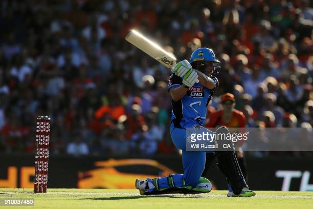 Jake Lehmann of the Strikers bats during the Big Bash League match between the Perth Scorchers and the Adelaide Strikers at WACA on January 25 2018...