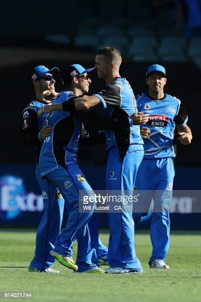 Jake Lehmann of the Strikers celebrates after taking the wicket of George Bailey of the Hurricanes off the bowling of Peter Siddle of the Strikers...