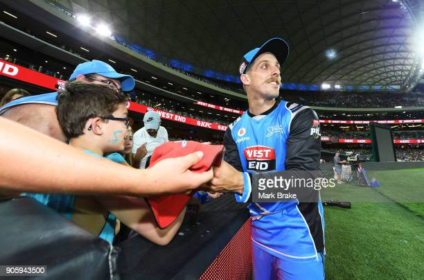 Jake Lehmann signs autographs during the Big Bash League match between the Adelaide Strikers and the Hobart Hurricanes at Adelaide Oval on January 17...