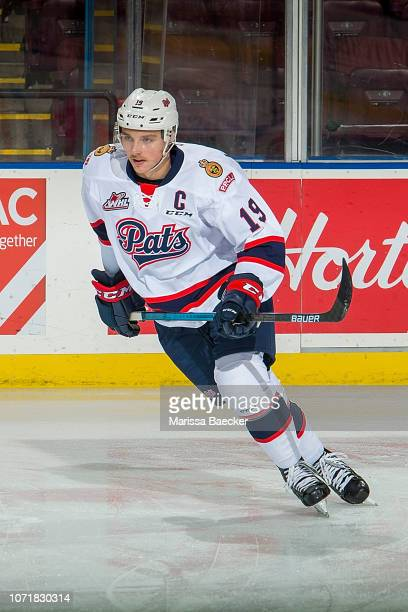 Jake Leschyshyn of the Regina Pats warms up against the Kelowna Rockets at Prospera Place on November 21 2018 in Kelowna Canada