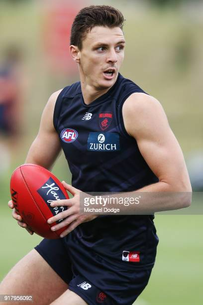 Jake Lever looks upfield during a Melbourne Demons AFL training session at Gosch's Paddock on February 14 2018 in Melbourne Australia