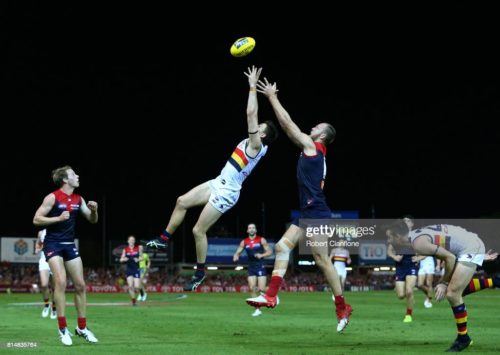 Jake Lever of the Crows and Max Gawn of the Demons compete for the ball during the round 17 AFL match between the Melbourne Demons and the Adelaide Crows at TIO Stadium on July 15, 2017 in Darwin, Australia.