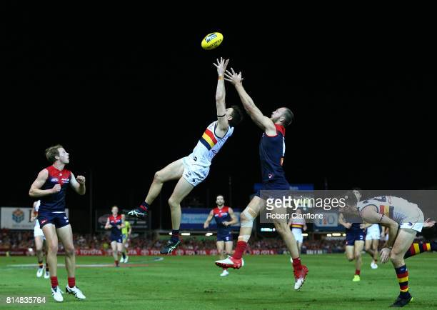 Jake Lever of the Crows and Max Gawn of the Demons compete for the ball during the round 17 AFL match between the Melbourne Demons and the Adelaide...