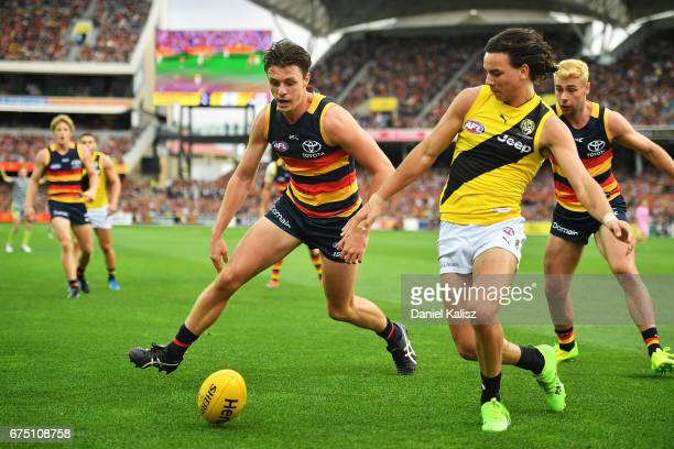 Jake Lever of the Crows competes for the ball with Daniel Rioli of the Tigers during the round six AFL match between the Adelaide Crows and the...