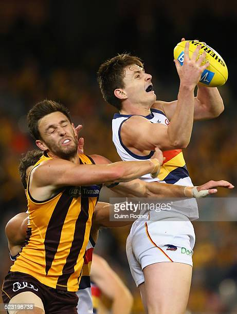 Jake Lever of the Crows marks infront of Jack Gunston of the Hawks during the round five AFL match between the Hawthorn Hawks and the Adelaide Crows...