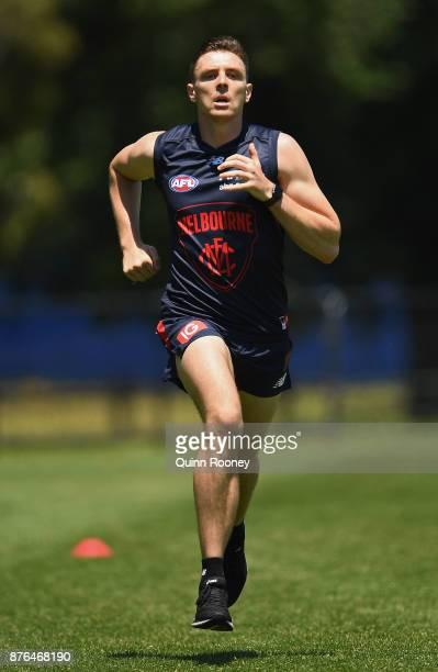 Jake Lever of the Demons does sprints during a Melbourne Demons AFL preseason training session at Gosch's Paddock on November 20 2017 in Melbourne...