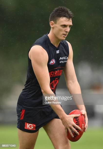 Jake Lever of the Demons kicks during a Melbourne Demons AFL training session at Gosch's Paddock on December 1 2017 in Melbourne Australia