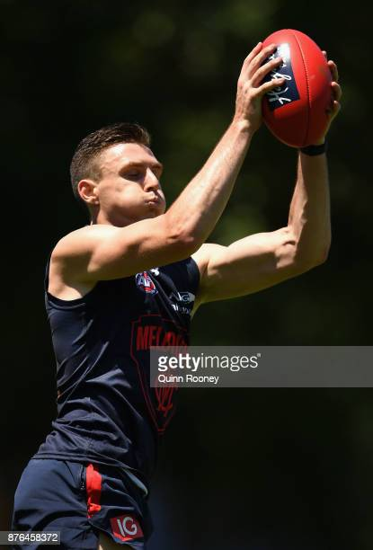 Jake Lever of the Demons marks during a Melbourne Demons AFL preseason training session at Gosch's Paddock on November 20 2017 in Melbourne Australia