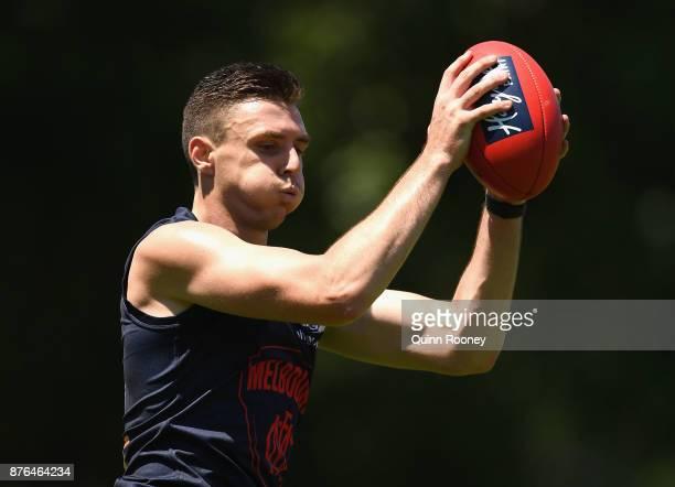 Jake Lever of the Demons marks during a Melbourne Demons AFL preseason training session at Gosch's Paddock on November 20 2017 in Melbourne Australia
