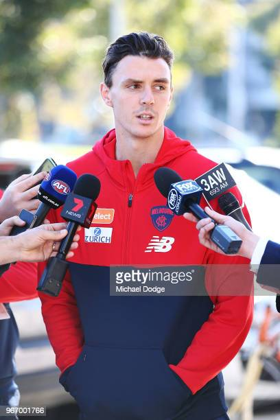 Jake Lever of the Demons speaks to media during a Melbourne Demons AFL training session at AAMI Park on June 4 2018 in Melbourne Australia Lever...