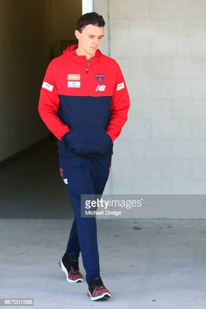 Jake Lever of the Demons walks out to face a media conference during a Melbourne Demons AFL training session at AAMI Park on June 4 2018 in Melbourne...