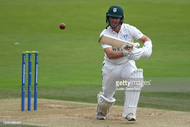 Jake Libby of Worcestershire plays a shot during the LV= Insurance County Championship match between Middlesex and Worcestershire at Lord's Cricket...