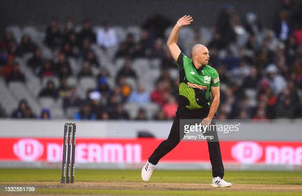 Jake Lintott of Southern Brave Men in bowling action during The Hundred match between Manchester Originals Men and Southern Brave Men at Emirates Old...