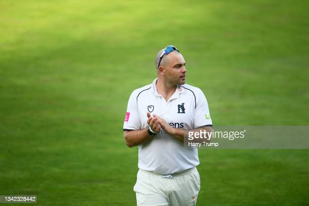 Jake Lintott of Warwickshire looks on following Day Four of the LV= Insurance County Championship match between Warwickshire and Somerset at...