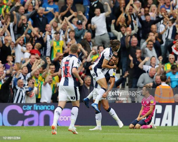 Jake Livermore and Jay Rodriguez of West Bromwich Albion celebrate the opening goal during the Sky Bet Championship match between West Bromwich...