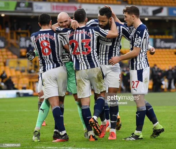 Jake Livermore, David Button, Robert Snodgrass, Kyle Bartley and Dara O'Shea of West Bromwich Albion celebrate following their team's victory in the...