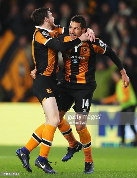 Jake Livermore of Hull City celebrates with Andrew Robertson as he scores their third goal goal during the Premier League match between Hull City and...