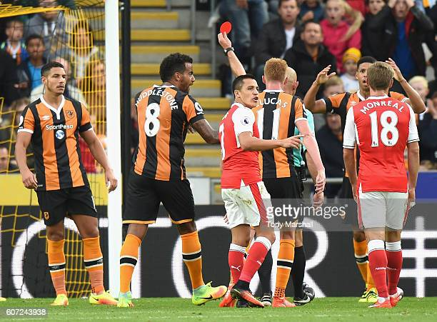 Jake Livermore of Hull City gets sent off during the Premier League match between Hull City and Arsenal at KCOM Stadium on September 17 2016 in Hull...