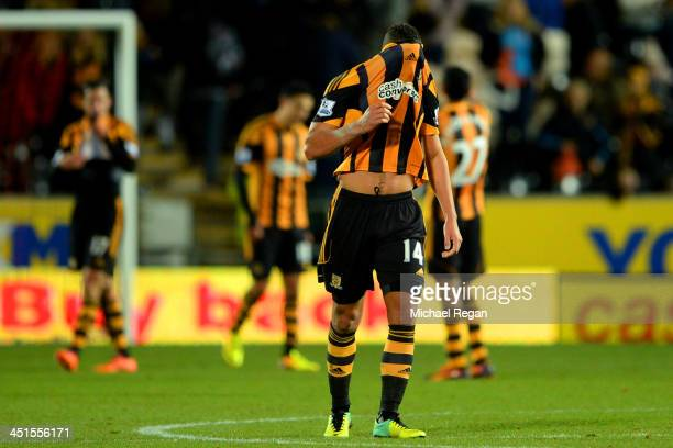 Jake Livermore of Hull City looks dejected after the Barclays Premier League match between Hull City and Crystal Palace at KC Stadium on November 23...