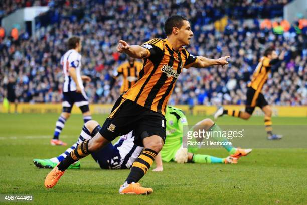 Jake Livermore of Hull City shoots celebrates scoring during the Barclays Premier League match between West Bromwich Albion and Hull City at The...