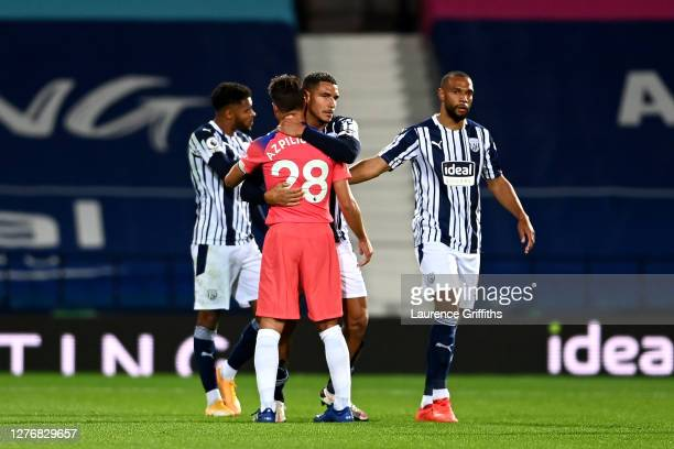 Jake Livermore of West Bromwich Albion and Cesar Azpilicueta of Chelsea interact following the Premier League match between West Bromwich Albion and...