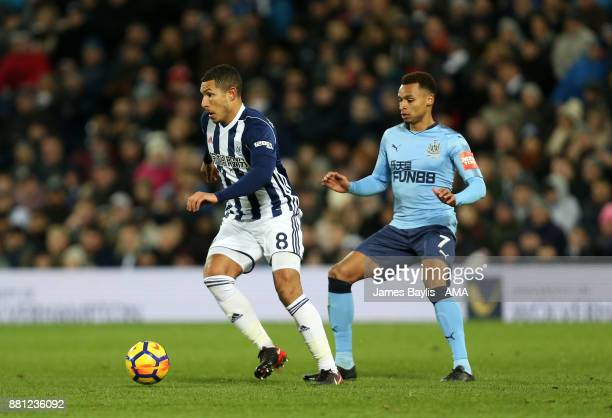 Jake Livermore of West Bromwich Albion and Jacob Murphy of Newcastle United during the Premier League match between West Bromwich Albion and...